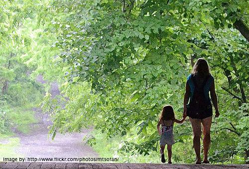 mum walking with daughter